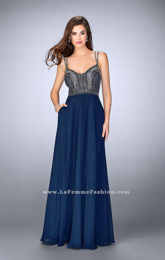 Picture of: Chiffon A-line Dress with Beaded Top and Cutout Back, Style: 24121, Detail Picture 1