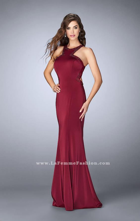Picture of: Long Jersey Prom Dress with Beaded Neckline in Red, Style: 24127, Back Picture