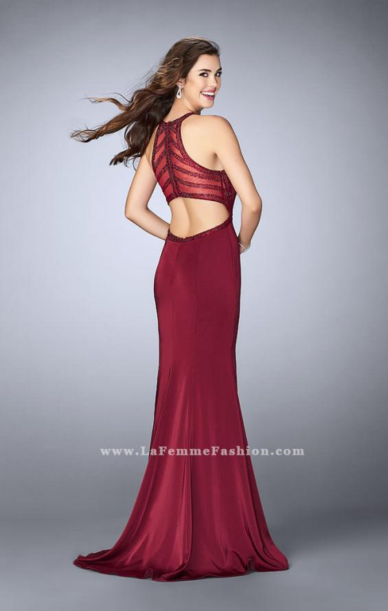 Picture of: Long Jersey Prom Dress with Beaded Neckline in Red, Style: 24127, Detail Picture 1