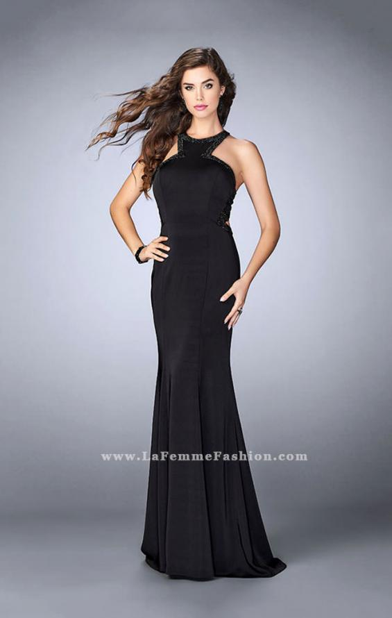 Picture of: Long Jersey Prom Dress with Beaded Neckline in Black, Style: 24127, Detail Picture 2