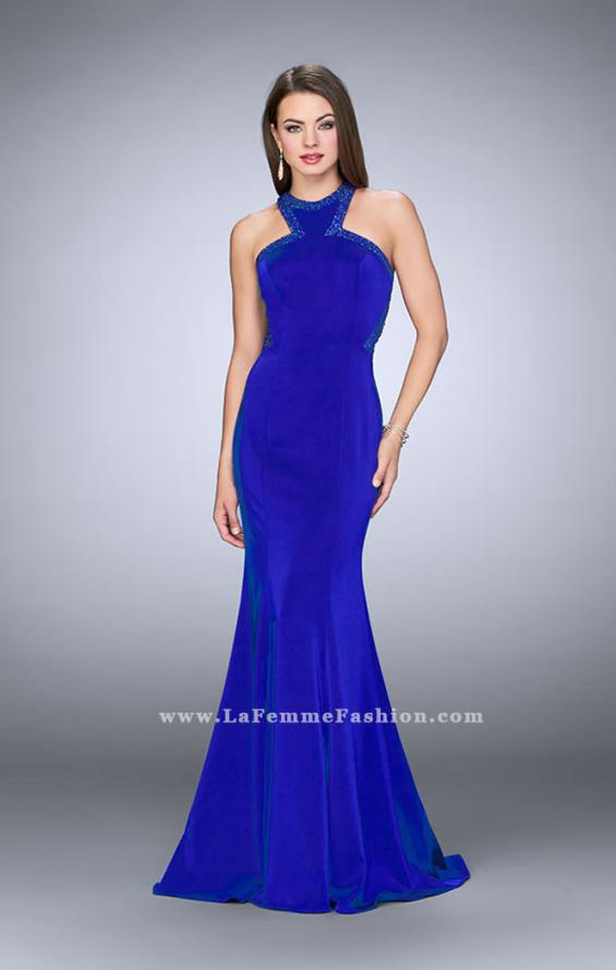 Picture of: Long Jersey Prom Dress with Beaded Neckline in Blue, Style: 24127, Detail Picture 3