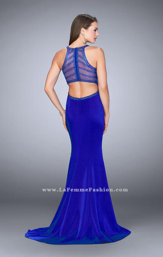 Picture of: Long Jersey Prom Dress with Beaded Neckline in Blue, Style: 24127, Detail Picture 4
