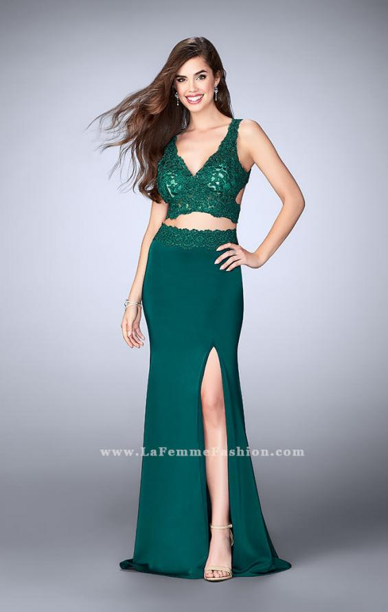 Picture of: Two Piece Jersey Gown with Lace top and Belt in Green, Style: 24128, Main Picture