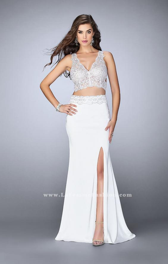 Picture of: Two Piece Jersey Gown with Lace top and Belt in White, Style: 24128, Detail Picture 1