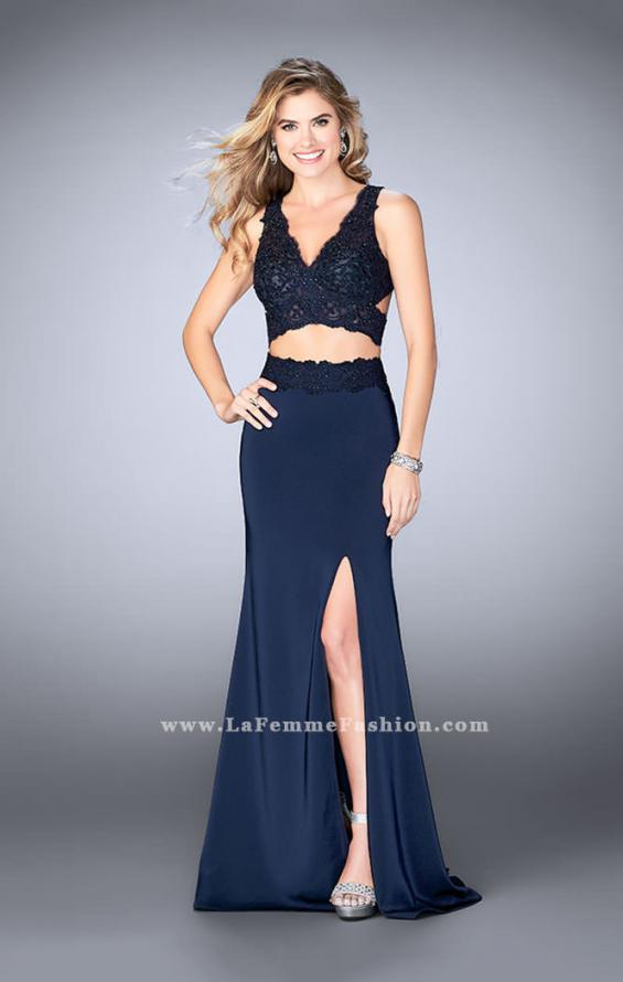 Picture of: Two Piece Jersey Gown with Lace top and Belt in Blue, Style: 24128, Detail Picture 2