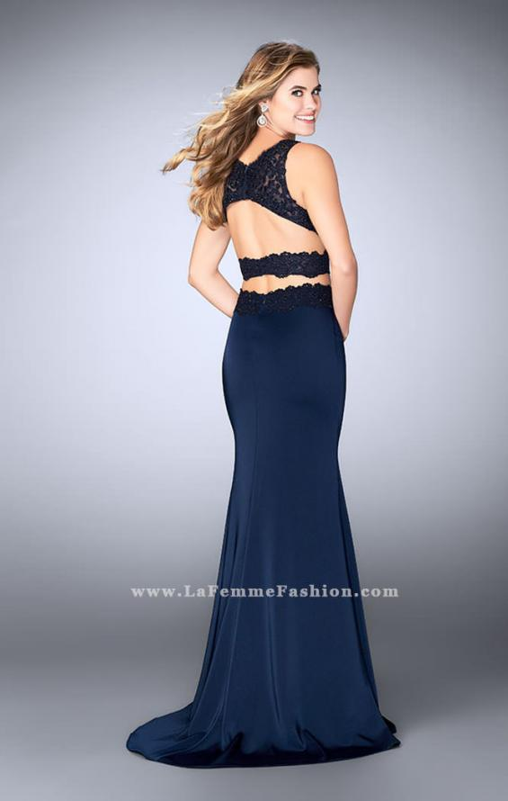 Picture of: Two Piece Jersey Gown with Lace top and Belt in Blue, Style: 24128, Detail Picture 3