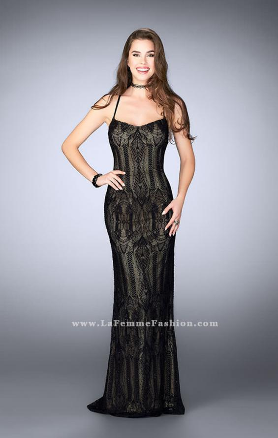 Picture of: Beaded Vintage Lace Dress with Scoop Neckline in Black, Style: 24131, Main Picture