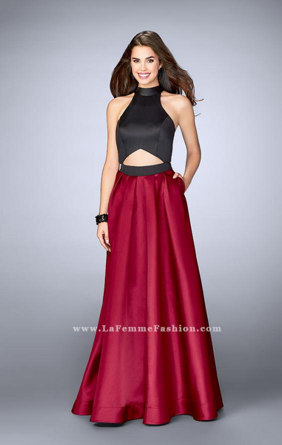 Picture of: Long Mikado A-line Dress with Cut Outs and Pockets in Red, Style: 24135, Main Picture