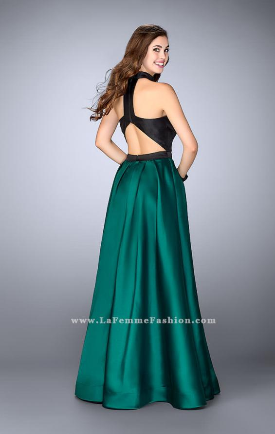 Picture of: Long Mikado A-line Dress with Cut Outs and Pockets in Green, Style: 24135, Back Picture