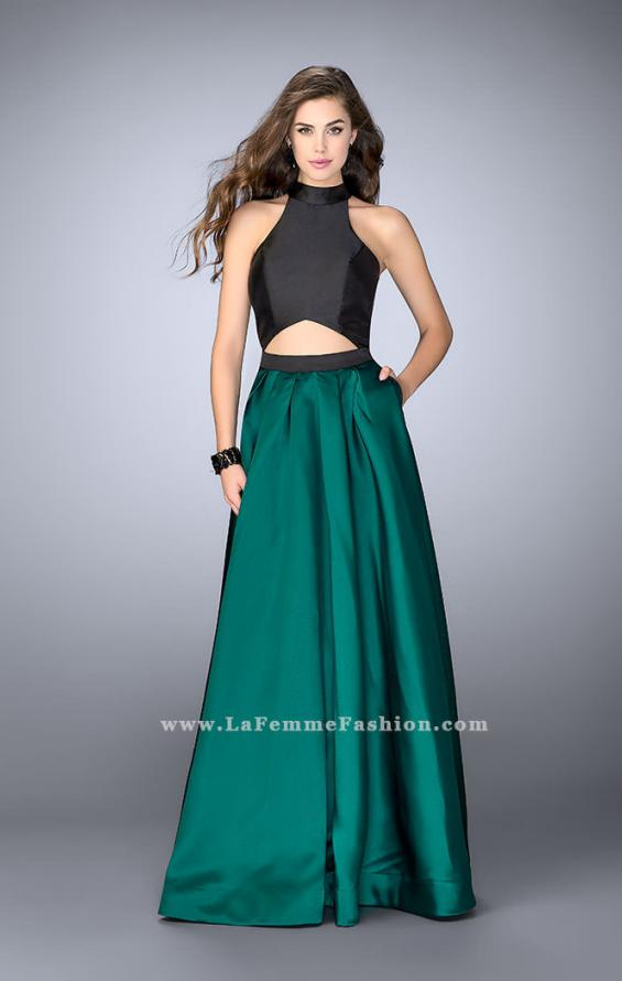 Picture of: Long Mikado A-line Dress with Cut Outs and Pockets in Green, Style: 24135, Detail Picture 1