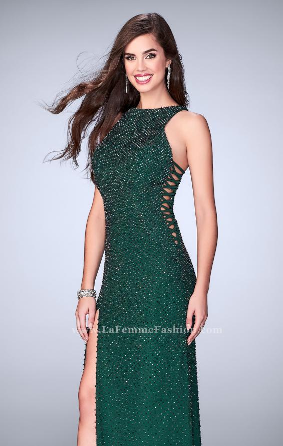 Picture of: Long Beaded Prom Dress with Lace Up Sides in Green, Style: 24138, Main Picture