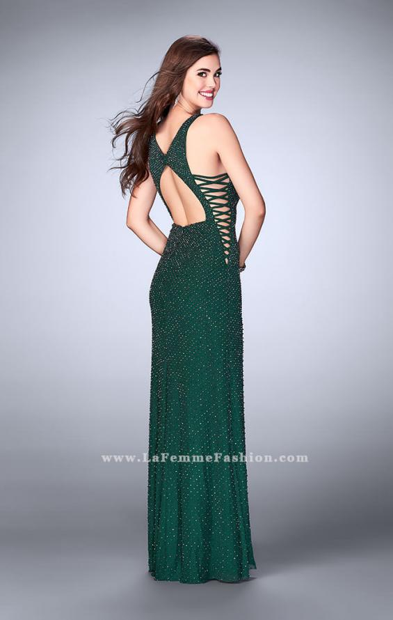 Picture of: Long Beaded Prom Dress with Lace Up Sides in Green, Style: 24138, Back Picture