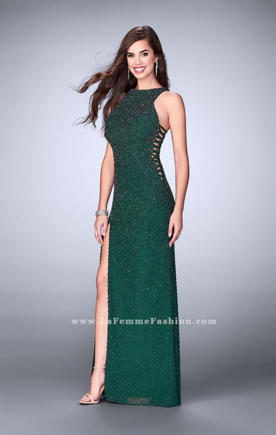 Picture of: Long Beaded Prom Dress with Lace Up Sides in Green, Style: 24138, Detail Picture 1