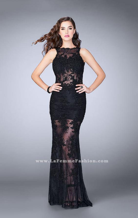 Picture of: Lace Romper Prom Dress with Scalloped V Back in Black, Style: 24145, Main Picture