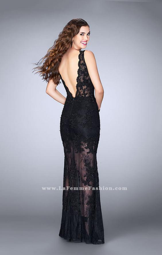 Picture of: Lace Romper Prom Dress with Scalloped V Back in Black, Style: 24145, Back Picture