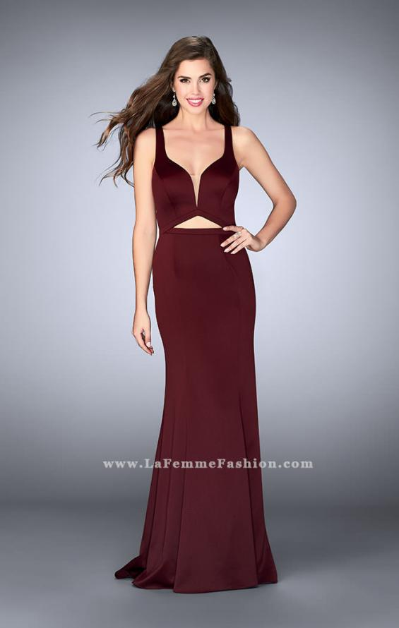 Picture of: Satin Prom Dress with Cut Outs and Open Back in Red, Style: 24150, Main Picture