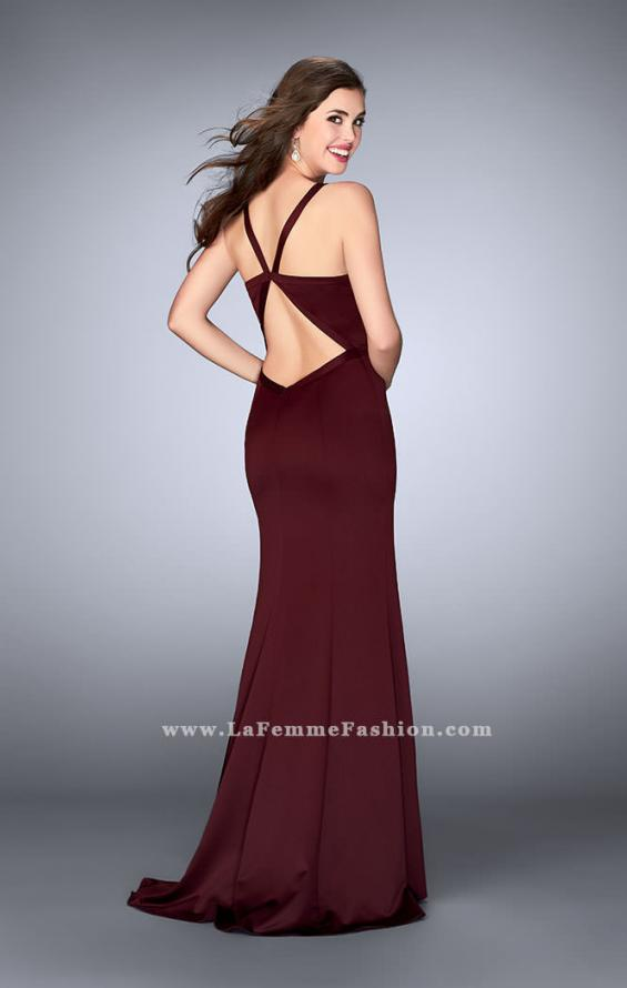 Picture of: Satin Prom Dress with Cut Outs and Open Back in Red, Style: 24150, Back Picture