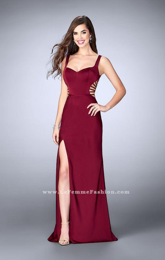 Picture of: Long Prom Gown with Strappy Side Cut Outs in Red, Style: 24155, Back Picture