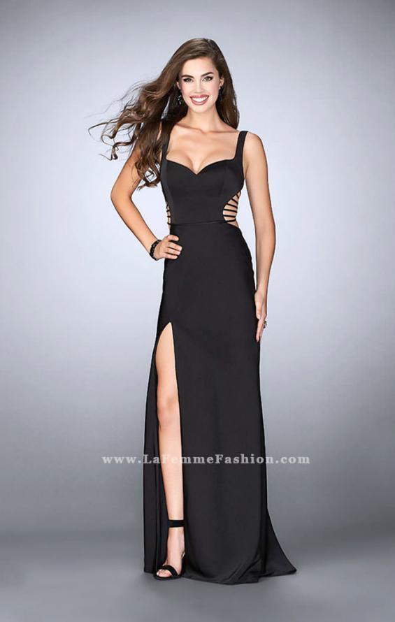 Picture of: Long Prom Gown with Strappy Side Cut Outs in Black, Style: 24155, Detail Picture 1