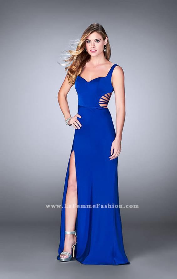 Picture of: Long Prom Gown with Strappy Side Cut Outs in Blue, Style: 24155, Detail Picture 2