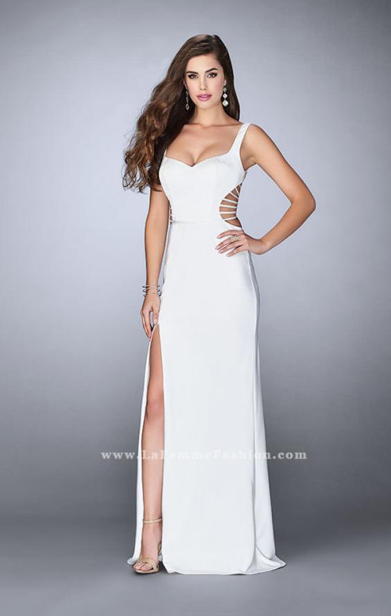 Picture of: Long Prom Gown with Strappy Side Cut Outs in White, Style: 24155, Detail Picture 4