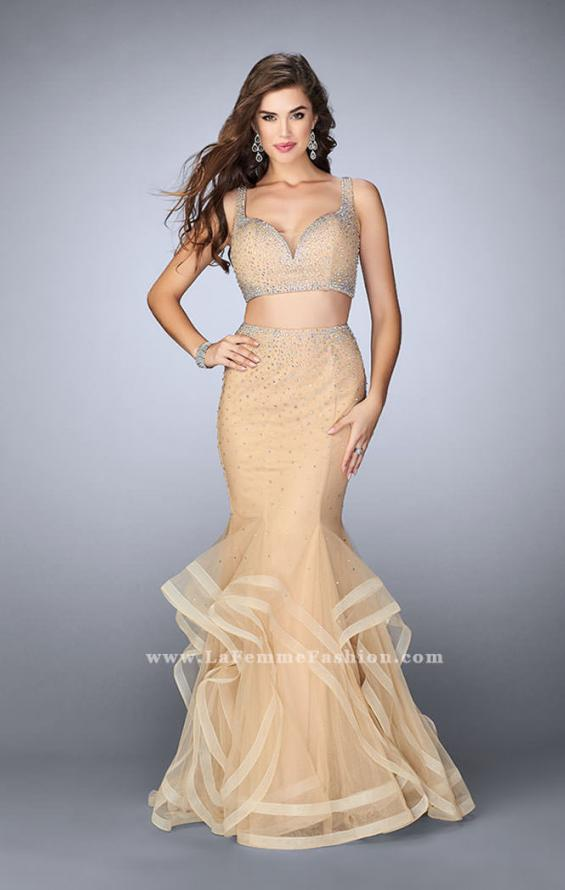 Picture of: Long Tulle Mermaid Prom Gown with Rhinestones in Nude, Style: 24157, Main Picture