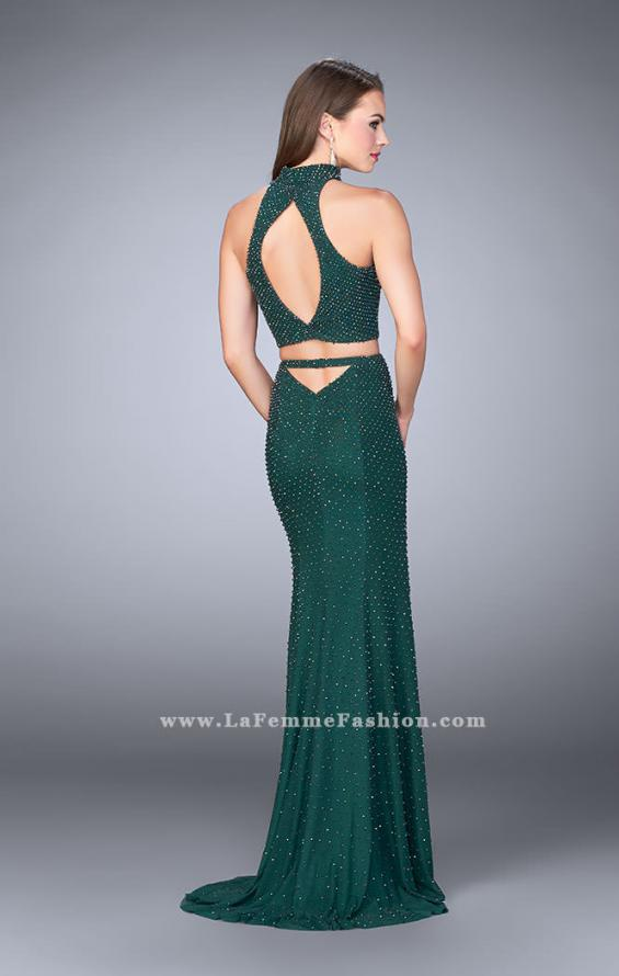 Picture of: Beaded Two Piece Prom Dress with Open Back in Green, Style: 24158, Back Picture