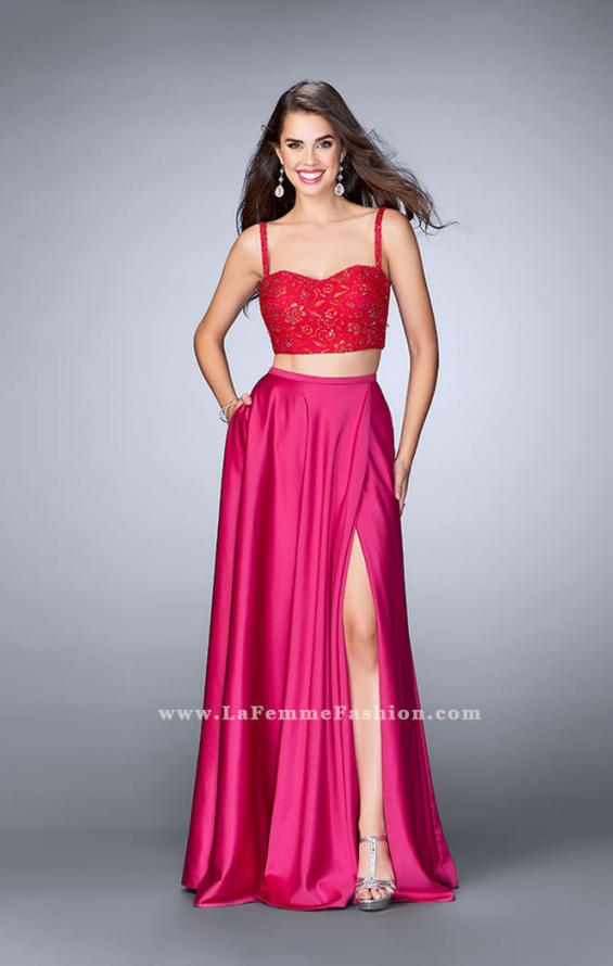 Picture of: Two Piece Satin A-line Dress with Slit and Lace Top in Pink, Style: 24159, Main Picture