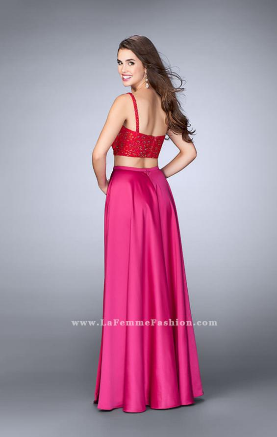 Picture of: Two Piece Satin A-line Dress with Slit and Lace Top in Pink, Style: 24159, Back Picture