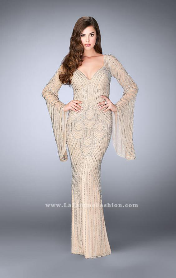 Picture of: Bell Sleeve Dress with Beaded Pattern and Open Back in Nude, Style: 24162, Main Picture