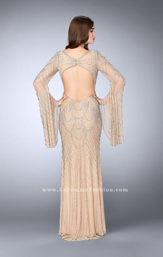 Picture of: Bell Sleeve Dress with Beaded Pattern and Open Back in Nude, Style: 24162, Back Picture