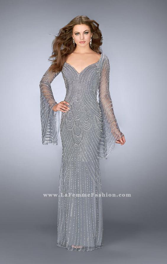 Picture of: Bell Sleeve Dress with Beaded Pattern and Open Back in Silver, Style: 24162, Detail Picture 1