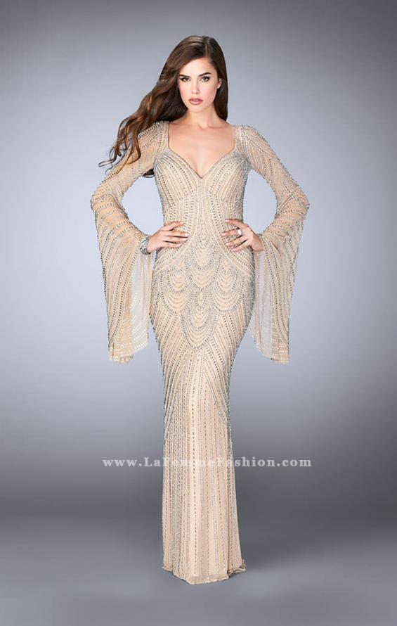 Picture of: Bell Sleeve Dress with Beaded Pattern and Open Back in Nude, Style: 24162, Detail Picture 2