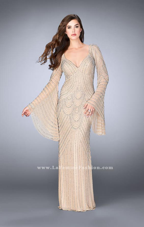 Picture of: Bell Sleeve Dress with Beaded Pattern and Open Back in Nude, Style: 24162, Detail Picture 3