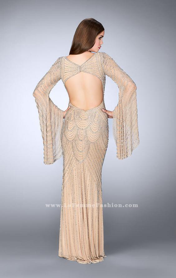Picture of: Bell Sleeve Dress with Beaded Pattern and Open Back in Nude, Style: 24162, Detail Picture 4
