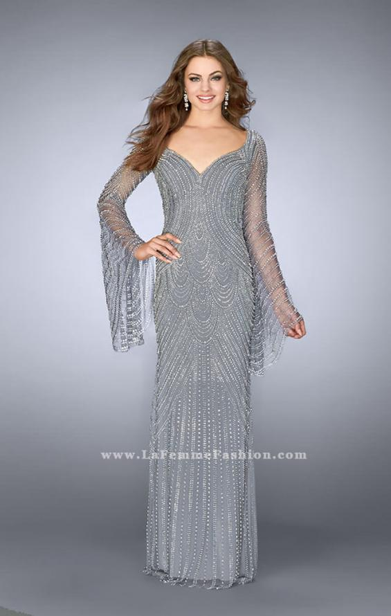 Picture of: Bell Sleeve Dress with Beaded Pattern and Open Back in Silver, Style: 24162, Detail Picture 5