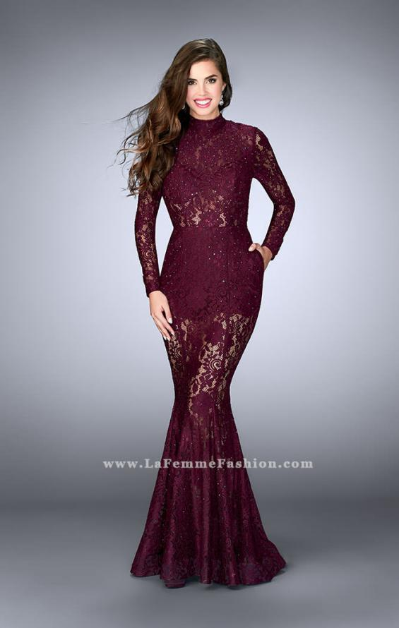 Picture of: Sheer Lace Romper Dress with Open Back and Pockets in Red, Style: 24164, Main Picture