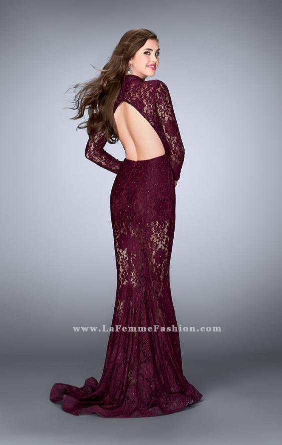 Picture of: Sheer Lace Romper Dress with Open Back and Pockets in Red, Style: 24164, Back Picture