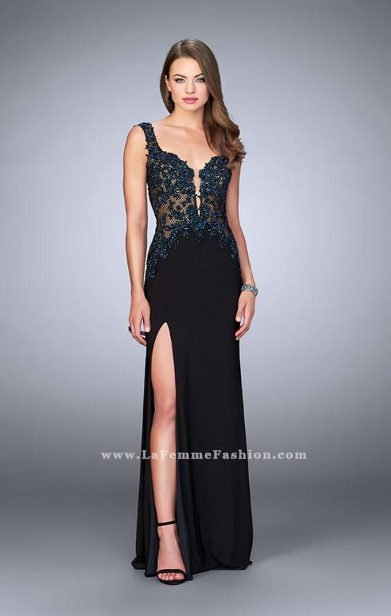 Picture of: Sheer Prom Dress with Lace and Rhinestones in Black, Style: 24168, Main Picture