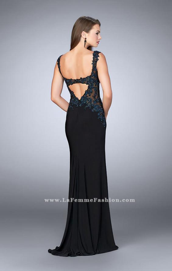 Picture of: Sheer Prom Dress with Lace and Rhinestones in Black, Style: 24168, Back Picture
