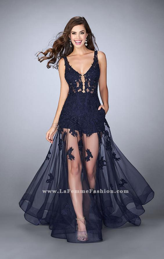Picture of: Sheer Lace Romper Prom Gown with Pockets, Style: 24172, Main Picture