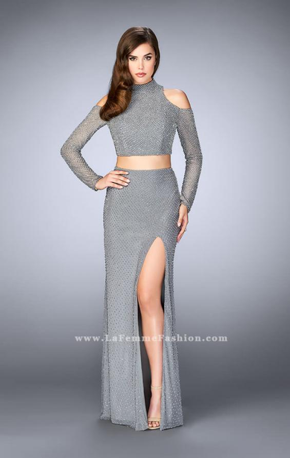 Picture of: Cold Shoulder Long Sleeve Two Piece Prom Dress in Silver, Style: 24174, Main Picture