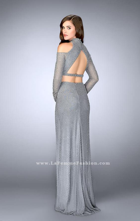Picture of: Cold Shoulder Long Sleeve Two Piece Prom Dress in Silver, Style: 24174, Back Picture