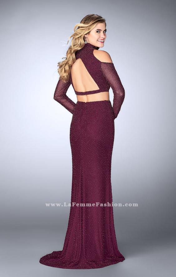 Picture of: Cold Shoulder Long Sleeve Two Piece Prom Dress in Purple, Style: 24174, Detail Picture 2