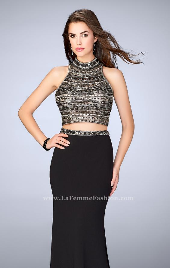 Picture of: Long Jersey Prom Dress with Beaded Top and Belt in Black, Style: 24188, Main Picture