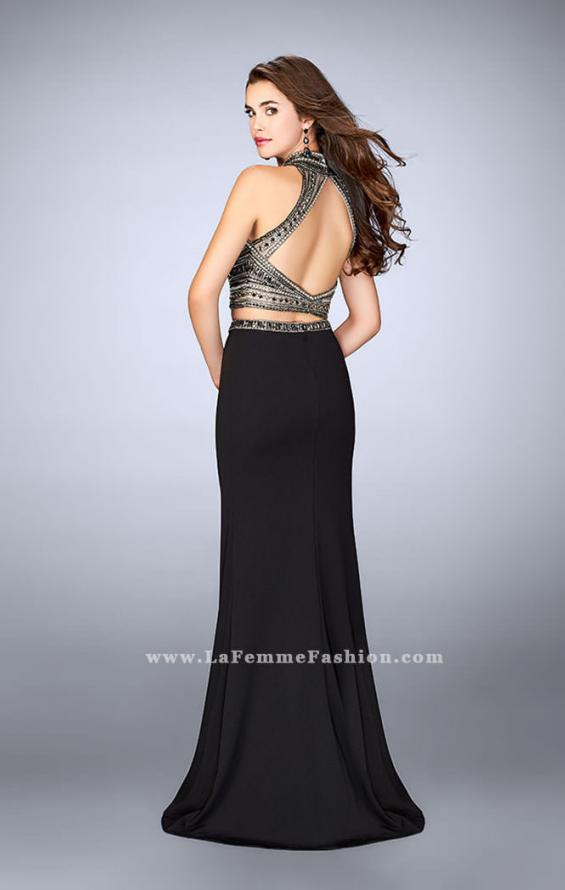 Picture of: Long Jersey Prom Dress with Beaded Top and Belt in Black, Style: 24188, Back Picture