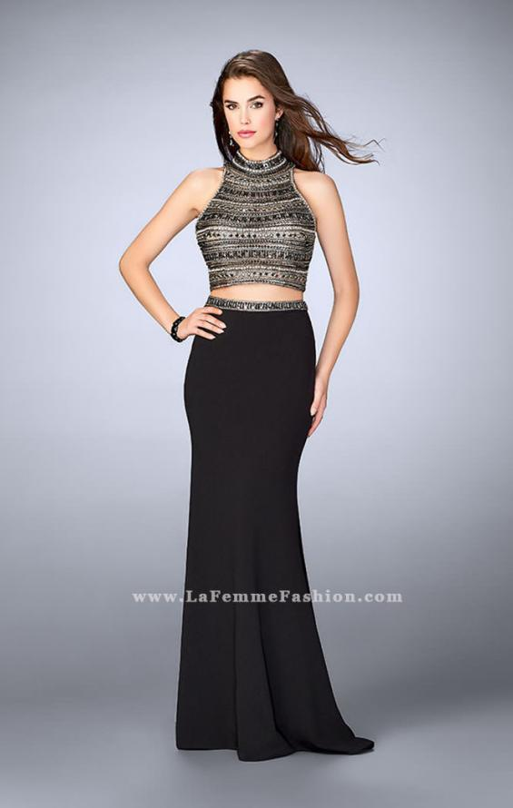 Picture of: Long Jersey Prom Dress with Beaded Top and Belt in Black, Style: 24188, Detail Picture 1