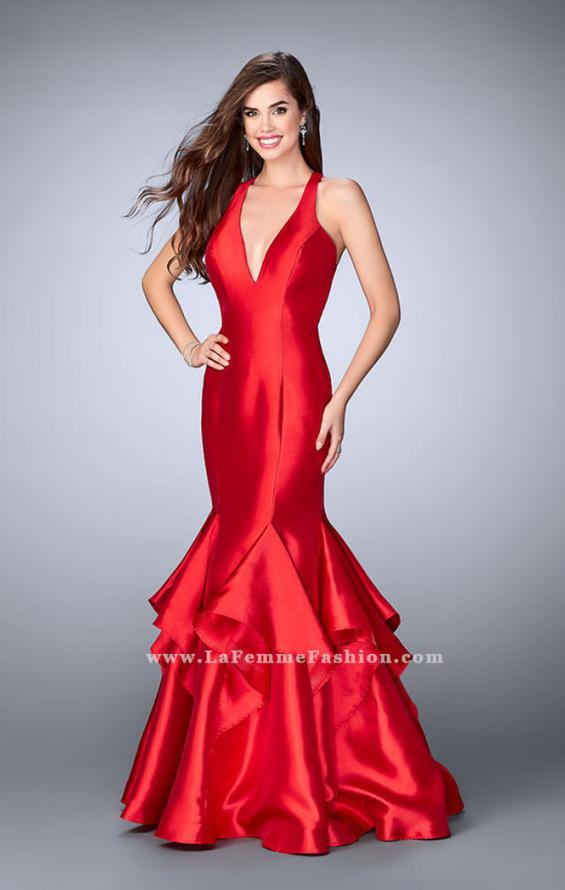 Picture of: Long Mermaid Ruffle Dress with Deep V Neckline in Red, Style: 24197, Main Picture
