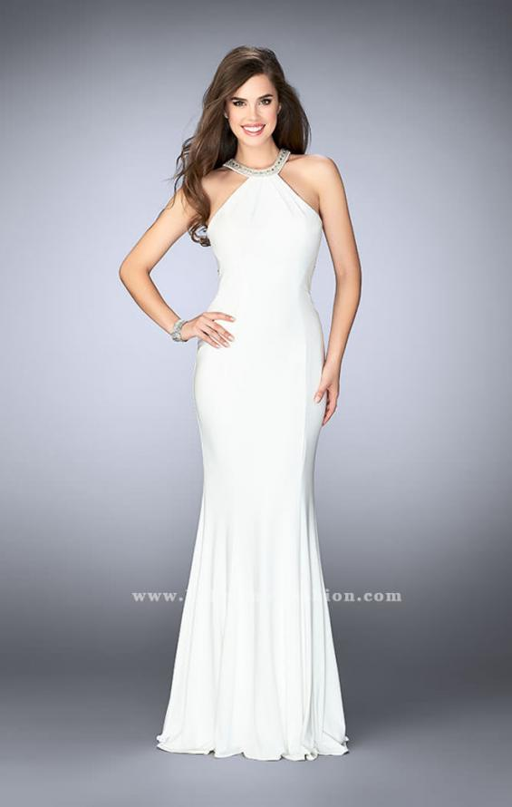 Picture of: Fitted High Neck Jersey Dress with Ruffles and Beading, Style: 24199, Back Picture