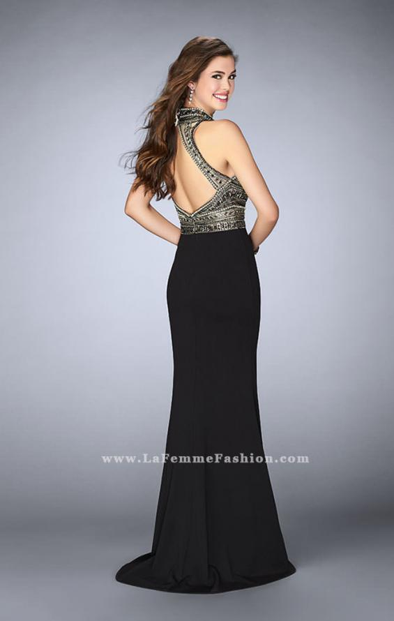 Picture of: Long Jersey Prom Dress with Beading and Open Back, Style: 24201, Back Picture